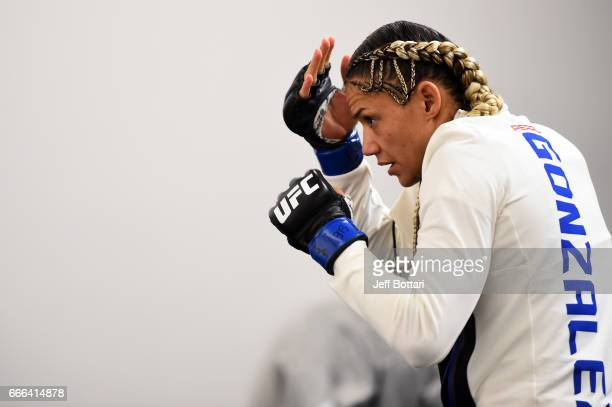 Pearl Gonzalez warms up backstage during the UFC 210 event at the KeyBank Center on April 8 2017 in Buffalo New York