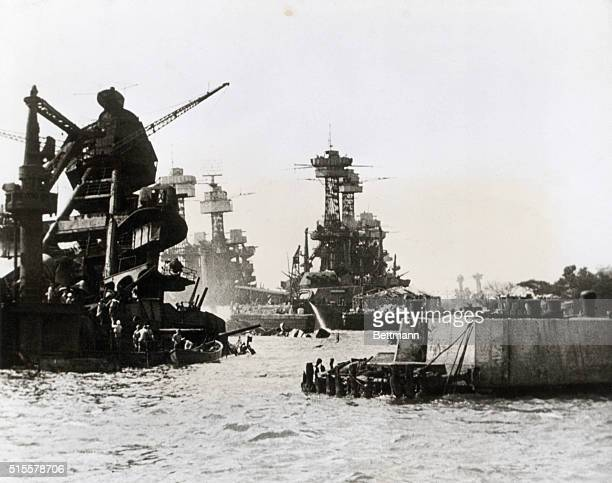 Ships damaged during the Pearl Harbor sneak attack which began the American involvement in World War II Photograph