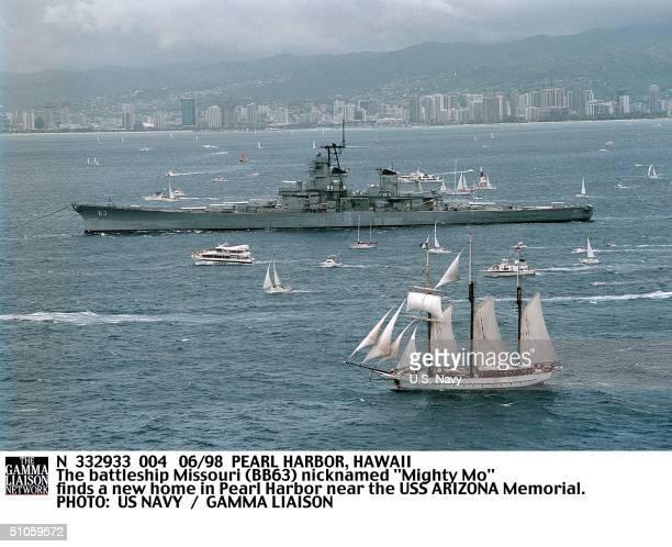 "Pearl Harbor, Hawaii The Battleship Missouri Nicknamed ""Mighty Mo"" Finds A New Home In Pearl Harbor Near The USS Arizona Memorial."