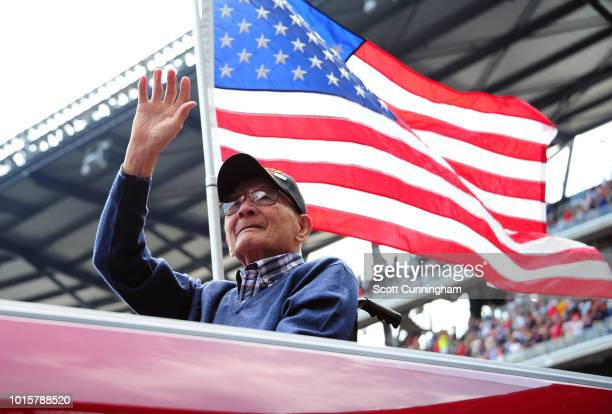 Pearl Harbor survivor ST1C Jesus Cepeda of the United States Navy is honored as the hometown hero during the seventh inning stretch of the game...
