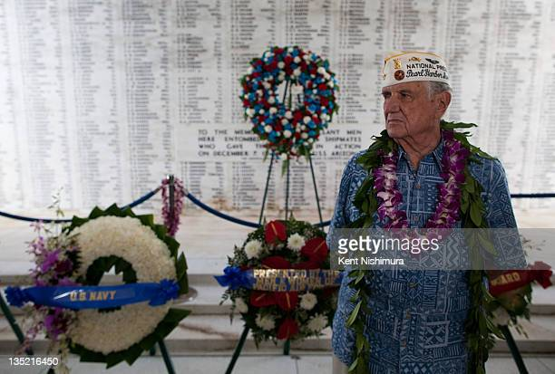 Pearl Harbor Survivors Association President William Muehleib pauses for a moment during a memorial service for the 70th anniversary of the attack on...