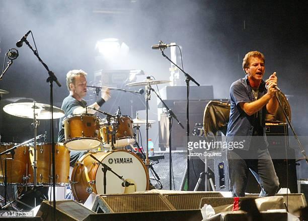 Pearl Jam during Pearl Jam 'Riot Act' Tour 2003 Kansas City at Verizon Wireless Amphitheater in Bonner Springs Kansas United States