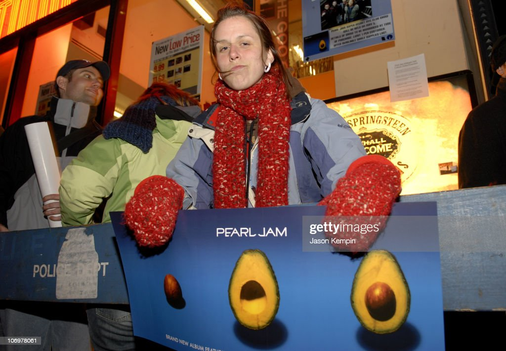 """Fans Await The Release of Pearl Jam's New Album """"Pearl Jam"""" at Tower Records in"""