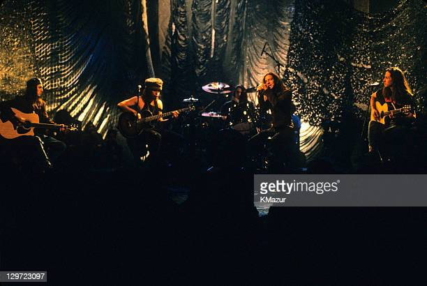 Pearl Jam performs during Pearl Jam: MTV Unplugged at Kaufman Astoria Studios on March 16, 1992 in New York City.