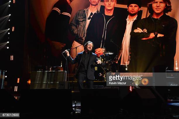 Pearl Jam performs onstage during the 32nd Annual Rock Roll Hall Of Fame Induction Ceremony at Barclays Center on April 7 2017 in New York City The...
