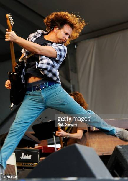 Pearl Jam's Eddie Vedder performs at the 2010 New Orleans Jazz & Heritage Festival - Day 6 Presented By Shell at the Fair Grounds Race Course on May...