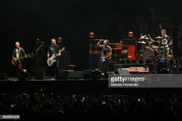 Pearl Jeam perform during the first day of Lollapalooza Chile 2018 at Parque O'Higgins on March 16 2018 in Santiago Chile