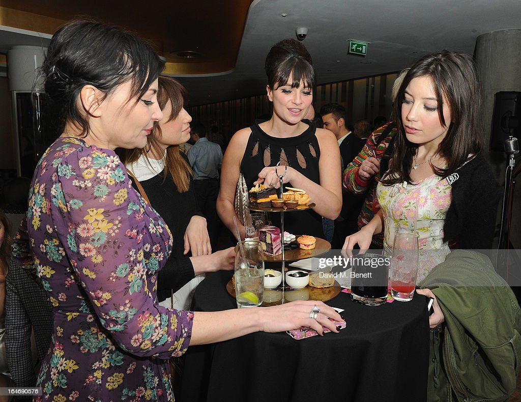 Pearl Lowe, Gizzi Erskine and Daisy Lowe at W London - Leicester Square for the launch of Gizzi Erskine's remix of the W Rock Tea and her book 'Skinny Weeks and Weekend Feasts' on March 26, 2013 in London, England.