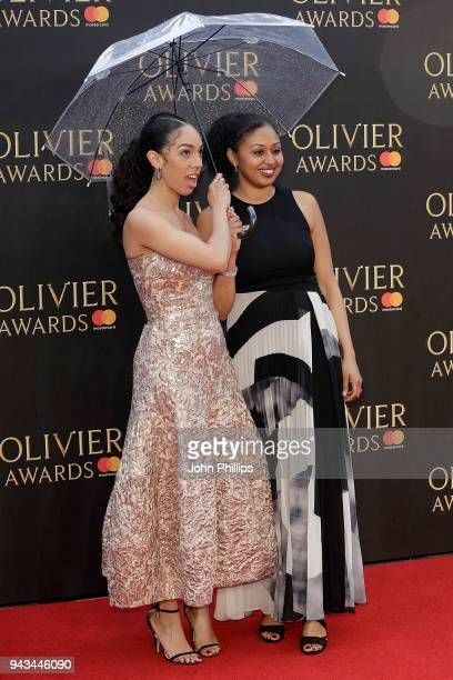 Pearl Mackie and Andrea Simon attend The Olivier Awards with Mastercard at Royal Albert Hall on April 8 2018 in London England