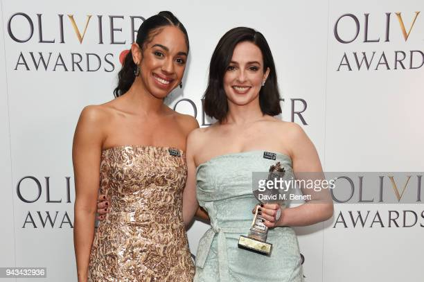 Pearl Mackie and Laura Donnelly winner of the Best Actress award for 'The Ferryman' pose in the press room during The Olivier Awards with Mastercard...