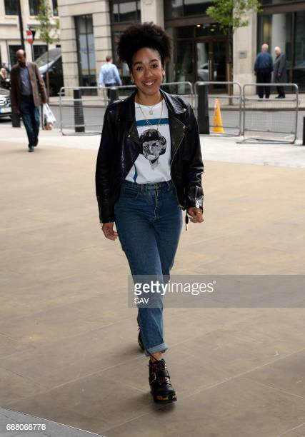 Pearl Mackie arrives at BBC Radio 1 on April 13 2017 in London England