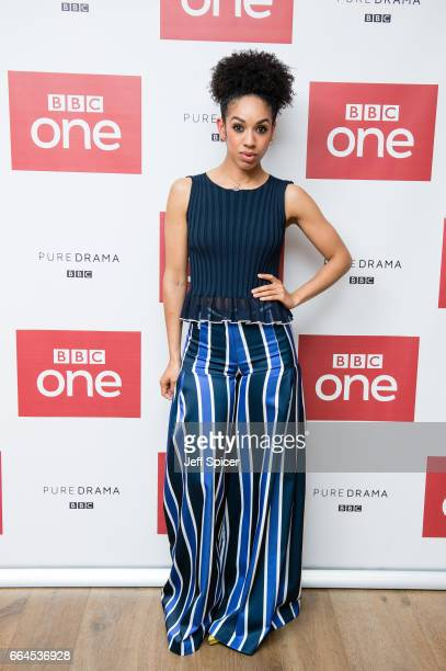 Pearl Mackie attends a photocall before the screening of the first episode of Series 10 of Doctor Who at the Ham Yard Hotel on April 4 2017 in London...