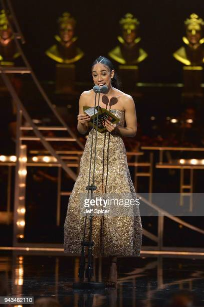 Pearl Mackie presents the award for Best Actress on stage during The Olivier Awards with Mastercard at Royal Albert Hall on April 8 2018 in London...