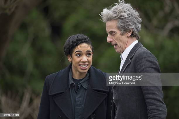 Pearl Mackie the Doctor's companion spotted with Peter Capaldi who plays the Doctor during filming for series 10 of BBC show Doctor Who at Cardiff...