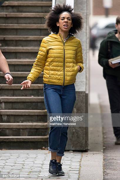 Pearl Mackie who plays Bill new companion to the Doctor in BBC show Doctor Who during filming outside the Martin Evans Cardiff University building on...