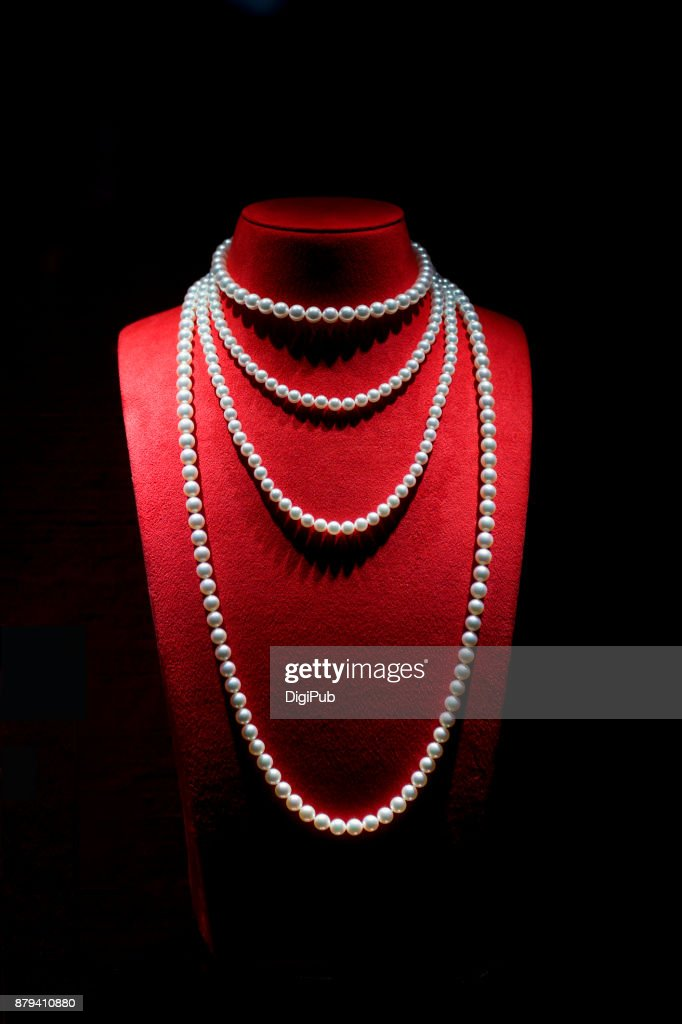 Pearl Necklace on Black Background : Stock Photo