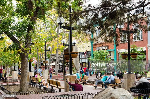 pearl street mall in downtown boulder, colorado - boulder county stock pictures, royalty-free photos & images