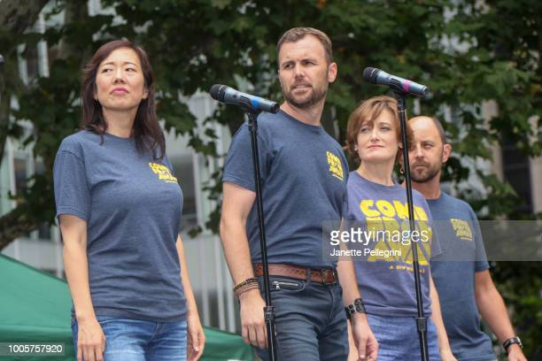 Pearl Sun Tony LePage Petrina Bromley and Geno Carr from the cast of 'Come From Away' performs at 1067 LITE FM Broadway in Bryant Park on July 26...
