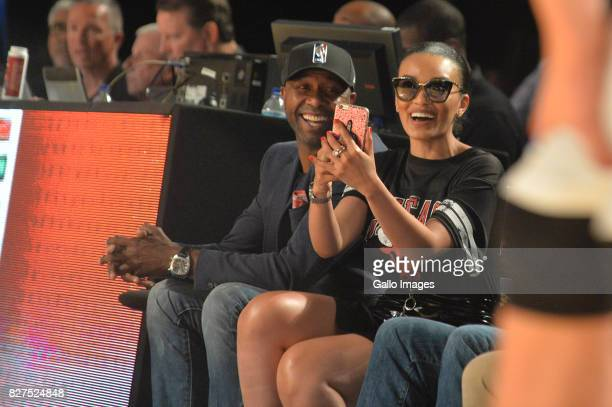 Pearl Thusi and Lucas Radebe during the NBA Africa Game 2017 at Ticketpro Dome on August 05 2017 in Johannesburg South Africa