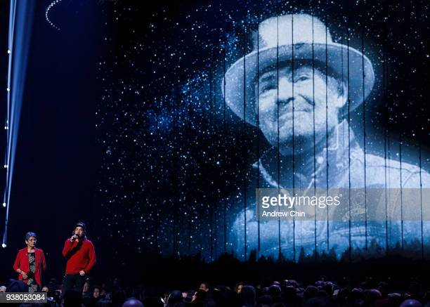 Pearl Wenjack and Kevin Drew honour the late Gord Downie during the 2018 JUNO Awards at Rogers Arena on March 25 2018 in Vancouver Canada