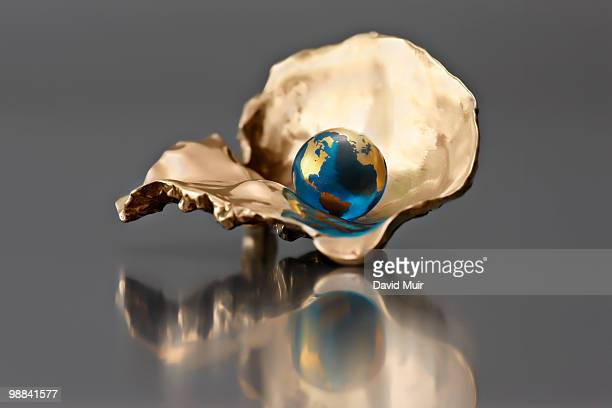 pearl world globe in a oyster shell - oyster pearl - fotografias e filmes do acervo