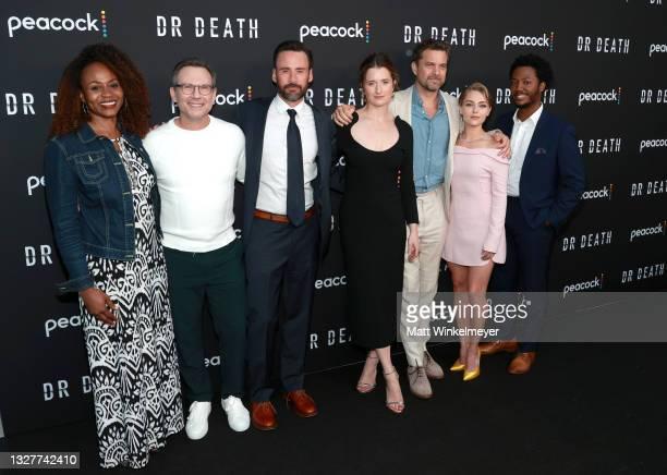 Pearlena Igbokwe, Christian Slater, Grace Gummer, Joshua Jackson, AnnaSophia Robb and Hubert Point-Du Jour attend the pre-screening reception for the...