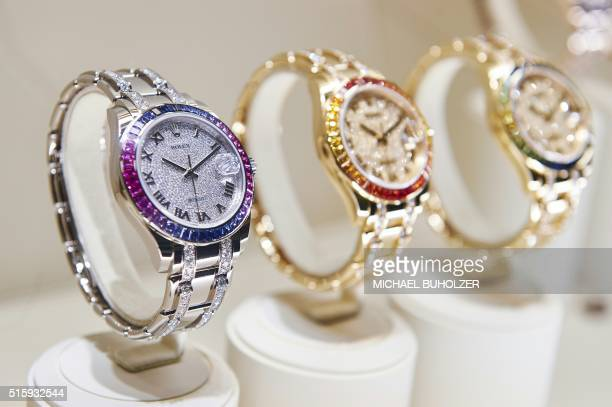 A Pearlmaster 39 wristwatch of Swiss watchmaker Rolex is displayed at the watch industry's biggest annual trade fair 'BaselWorld' in Basel on March...