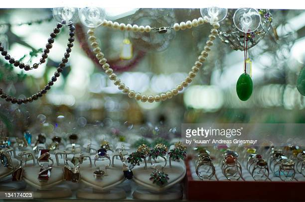 Pearls and finger rings jewellery shops display