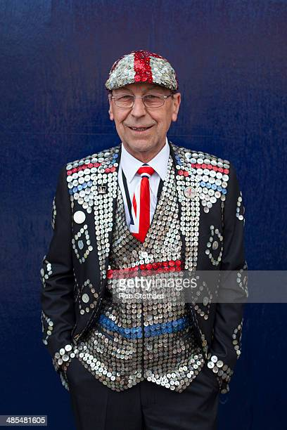 Pearly King Bob Paice poses for a portrait outside the Widow's Son pub in BromleybyBow on April 18 2014 in London England The Widow's Son was built...