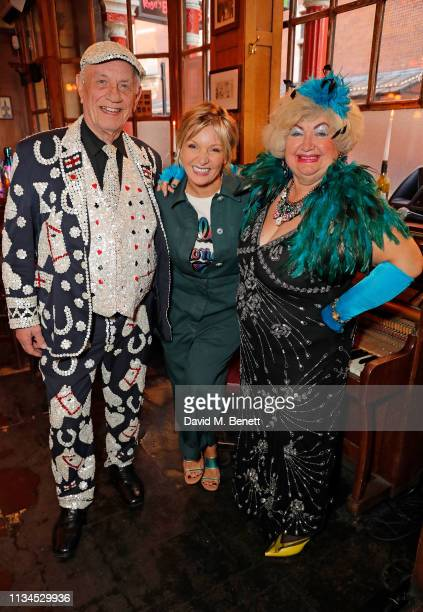 Pearly King of Mile End Rebecca FarrarHockley and Betty attend the Kurt Geiger x Julia Hobbs WaterAid charity pub quiz on April 2 2019 in London...