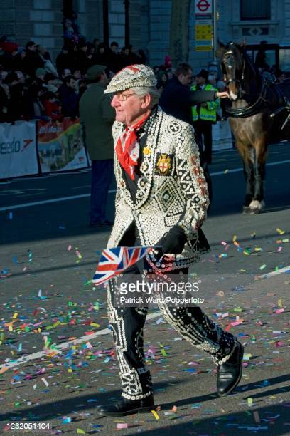 Pearly King participating in the New Year's Day Parade in London, England, on 1st January 2010.