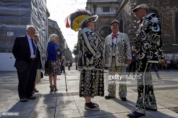 Pearly Kings and Queens gather for a Harvest Festival service at the Guildhall in the City of London on September 24 2017 Pearly kings and queens are...