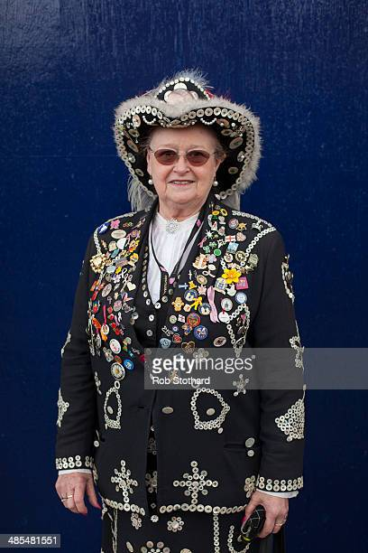Pearly Queen Christine Prosser poses for a portrait outside the Widow's Son pub in BromleybyBow on April 18 2014 in London England The Widow's Son...