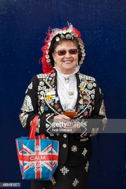 Pearly Queen Doreen Golding poses for a portrait outside the Widow's Son pub in BromleybyBow on April 18 2014 in London England The Widow's Son was...