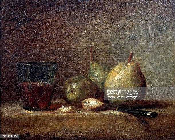 Pears nuts and glass of wine Still life Painting by JeanBaptiste Simeon Chardin 18th centuryOil on canvas 033 X 041 m Louvre Museum Paris