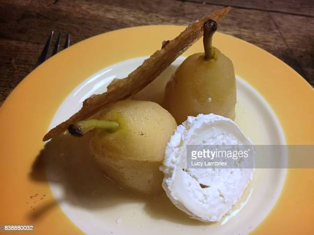 pears with goat cheese and caramel cookie - hauts de france stock photos and pictures