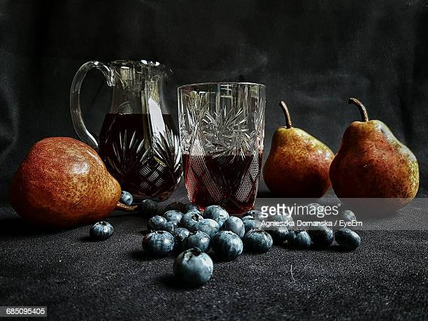 Pears With Gooseberry And Jug Filled With Juice