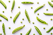 Peas pattern. Top view of fresh vegetable on a white background. Repetition concept