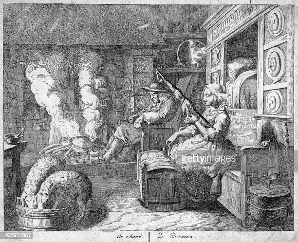 Peasant cottage interior possibly Netherlands or northern France 17th century The husband wearing wooden clogs snoozes in the chimney corner by the...