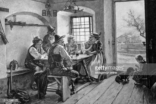 Peasant Family in the Living Room, Bavaria, Germany, in 1888, after a painting by Emil Rau / Bauernfamilie im Wohnzimmer, Bayern, Deutschland, im...