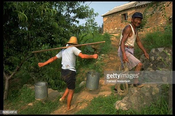Peasant farmer carrying water buckets filled fr well on shoulder yoke walking back to water fields in Hebei province countryside nr Beijing China