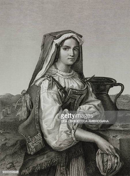 Peasant from Corbara near Rome engraving by Piotti Pirola from a painting by Eliseo Sala from the Album Exhibition of Fine Arts in Milan 1845