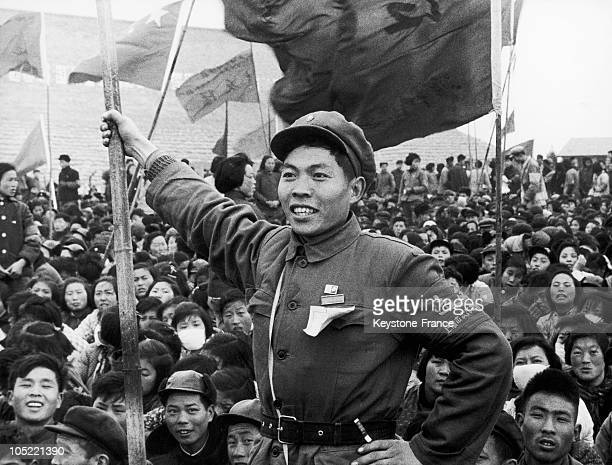Peasant With Cultural Revolution'S Flag In Shangai'S Suburbs February 21 1967