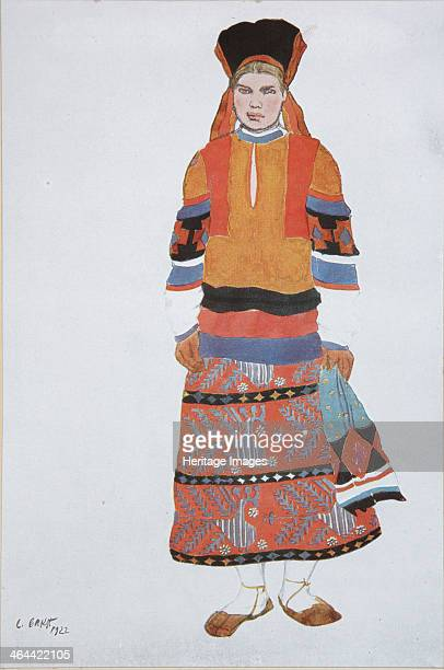 Peasant woman Costume design for the Vaudeville Old Moscow at the Théâtre Femina in Paris 1922 From a private collection