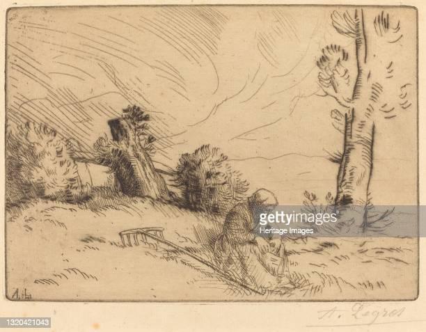 Peasant Woman Seated near a Hedge . Artist Alphonse Legros.