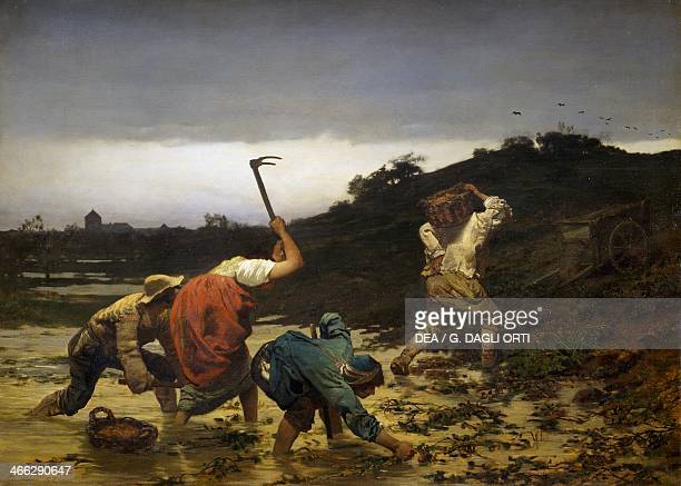 Peasants harvesting potatoes during the flooding of the Rhine in 1852 painting by Gustave Brion oil on canvas 98x132 cm