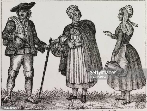 Peasants of the Angoumois and typical costume of Cuffeaux France lithograph from Galleria universale di tutti i popoli del mondo ossia storia dei...