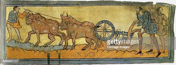Peasants ploughing 11th century Found in the collection of British Library Artist Anonymous