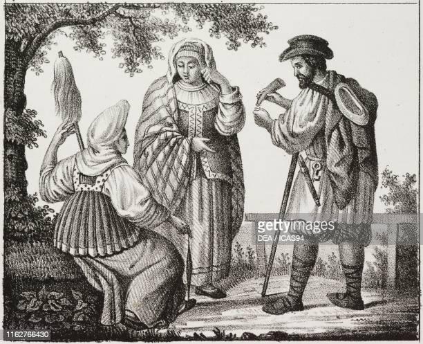 Peasants Russia lithograph from Galleria universale di tutti i popoli del mondo ossia storia dei costumi religioni riti governi d'ogni parte del...