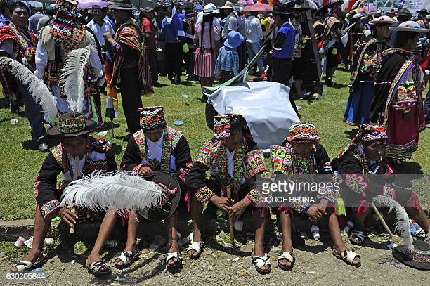 Peasants take part in the Day of Democratic and Cultural Revolution in the Plurinational State of Bolivia celebrating President Evo Morales' first...